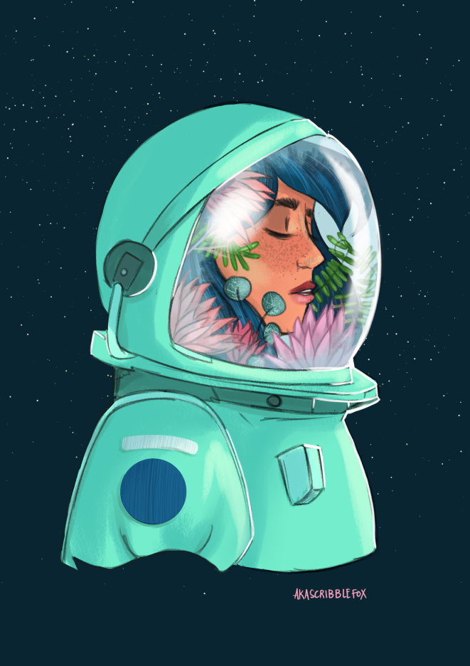 An astronaut with flowers and plants inside her suit. Her eyes are closed. There are stars in the background.